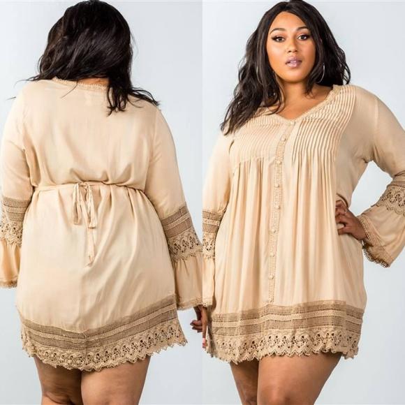 ef6345c68de8 Luxe Label Dresses | Plus Size Boho Pleated Button Crochet Mini ...